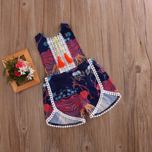CA Newborn Baby Girls Floral Romper Bodysuit Jumpsuit Outfits Sunsuit Clothes