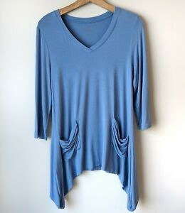 LOGO-by-Lori-Goldstein-V-Neck-Tee-Shirt-XS-Top-Blue-Asymmetric-3-4-Slv-A202259
