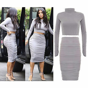 8ffd7c93f4838 New Ladies Celeb Kim Kardashian Crop Top Women Ruched Midi Bodycon ...