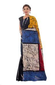Indian Bridal Pooja Batik Hand Block Printed Sari Cotton Saree Bollywood Saree