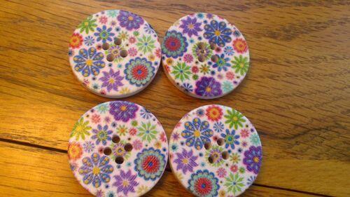 4 8 50 Grande Redondo Botones De Abrigo De Invierno De Flores De Varios Colores Madera 30mm