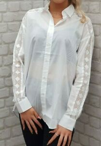 BRAND-NEW-WITH-TAGS-The-Kooples-White-Cotton-Cut-Out-Shirt-Blouse-RRP-125EURO