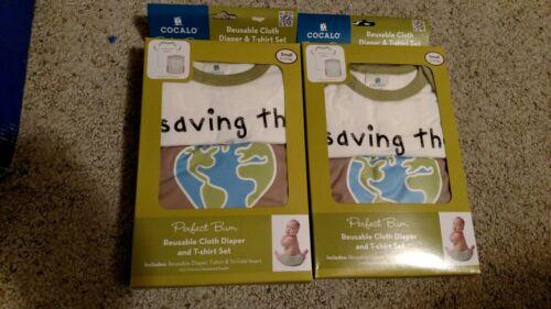 5 Perfect Bum Saving the Planet Reusable Cloth Diaper Tshirt Sets Small 6-13 lbs