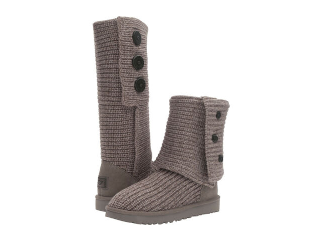 7d167bdad0e Women UGG Classic Cardy Boot 1016555 Grey Wool Knit 100% Authentic Brand New