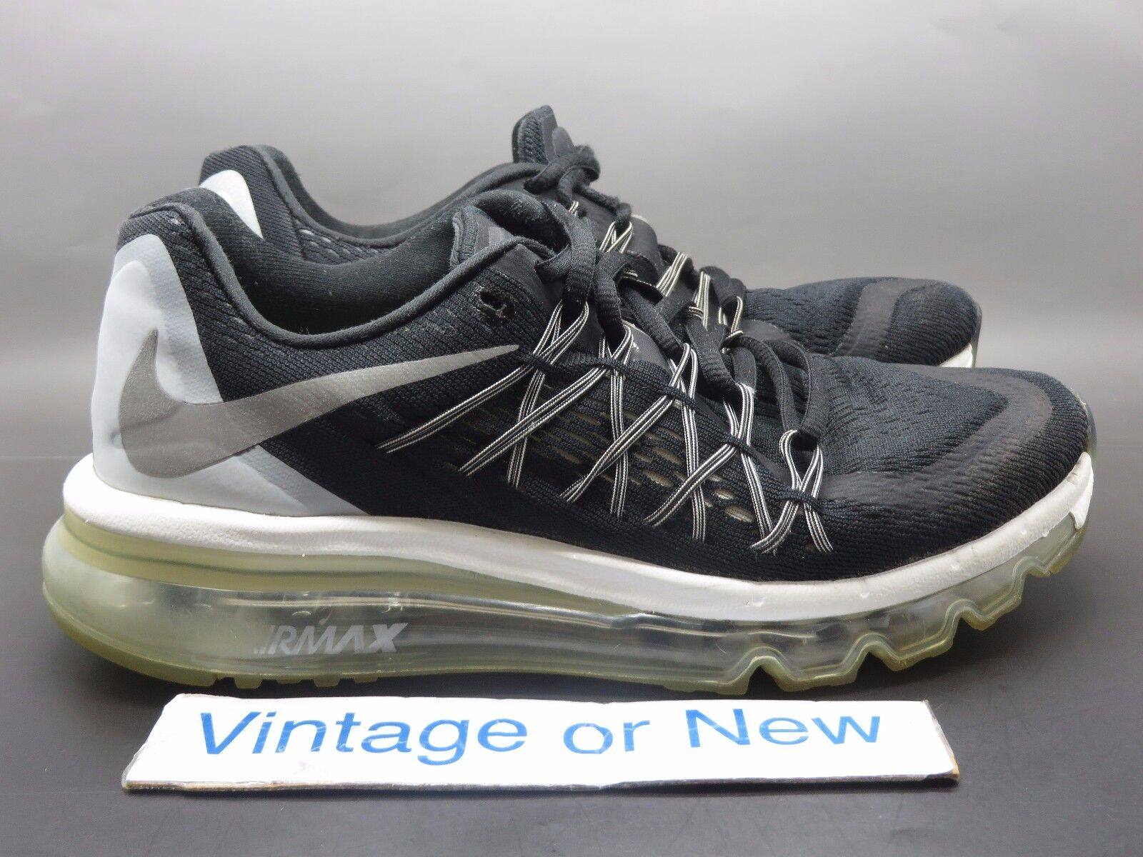 Women's Nike Air Max 2015 Black Reflective Silver White Running Shoes sz 7