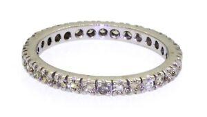 18k White Gold 0.64ct VS1/G Diamond Eternity Band Ring - Size 6.25