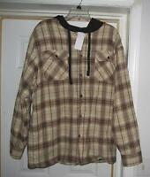 $50 Avirex Medium Or Large Hooded Brown Gold Jacket Work Hooded Coat Shirt