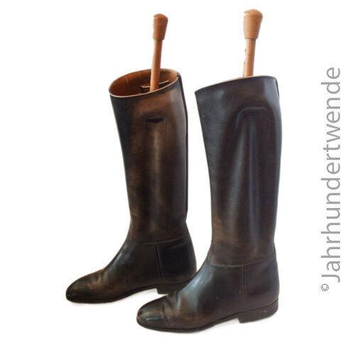 Jinete botas Echt Leder negro mujer botas botas de cuero señora botas