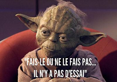 Stickers Autocollant Transp Poster A4 Film Movie Star Wars Maitre Jedi Yoda Cita Sin Costo Alguno A Cualquier Costo