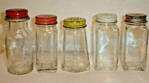 Vintage-5-1950-039-s-Cake-Cookie-Decoration-Glass-Jars-w-Shaker-Lids-No-Labels