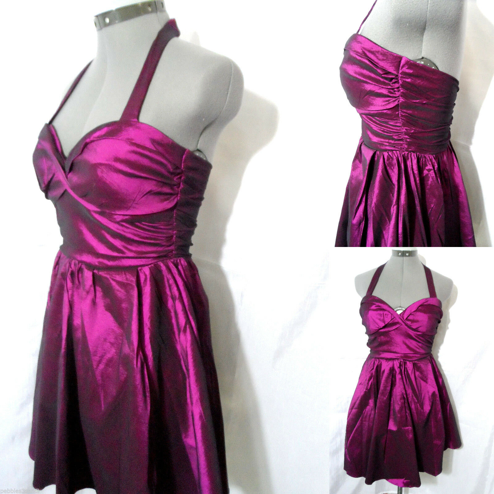 New FAISCA Pageant Party Dress women L purple Purple ruched Winter Formal Prom