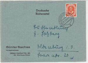 Germany Nienburg 1954 Numeral Posthorn Stamps Cover FRONT to Oldenburg Ref 32297