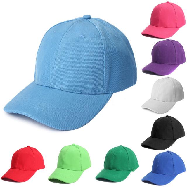 Plain Baseball Cap Solid Color Blank Curved Visor Peaked Hat Adjustable