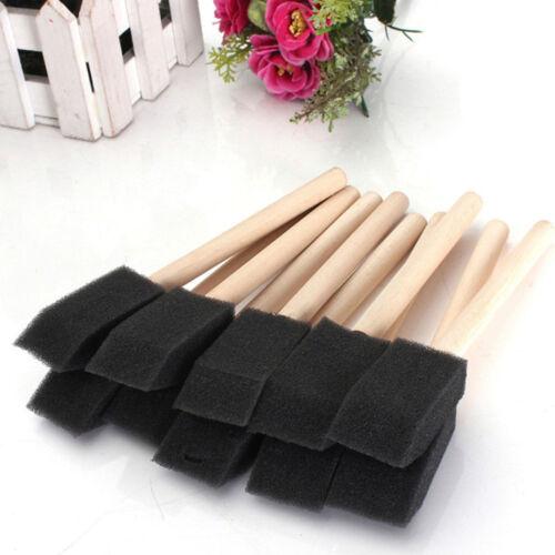 5Pcs Black Foam Sponge Brushes Wooden Handle Painting Drawing Art Craft Draw DIY