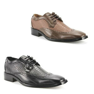 NEW FASHION MENS LACE UP WING TIP OXFORDS ALLIGATOR LEATHER LINED DRESS SHOES