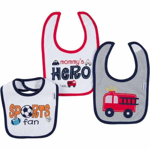 Sports Design Super Cute Hero Gerber Baby Boys 3 Pack Bibs NEW Firetruck
