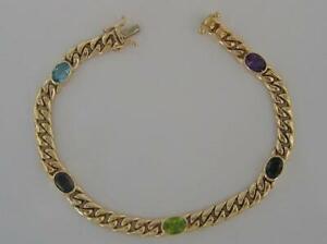 Panzerarmband-mit-Edelsteinen-in-aus-14-Kt-585-Gold-bracelet-Laenge-19-cm