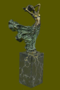 Signed-J-ERTE-Bronze-Nude-Girl-Sculpture-Statue-Hotcast-Detailed-Figurine-DECOR