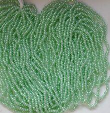 "Mint Green Pearl Iris AB Glass 12/0 Vintage Seed Beads Long 20"" Hank (5048521)"