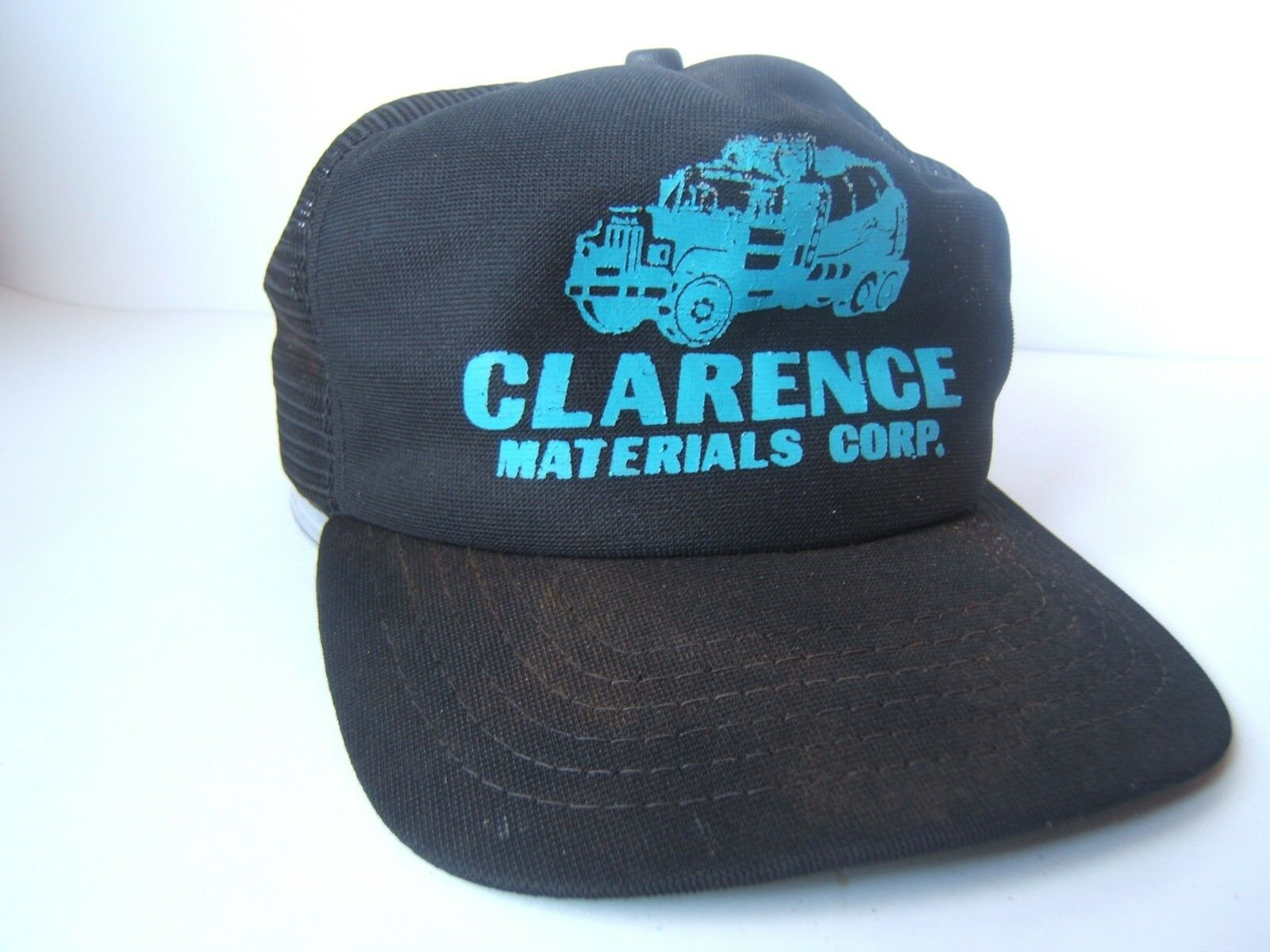 Vintage Clarence Materials Corp Trucker Hat Stained Black Snapback Trucker Corp Cap Made USA 1dda1d
