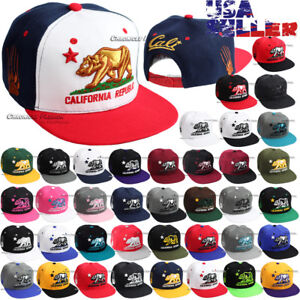 California-Republic-CALI-Bear-Baseball-Hat-Embroidered-Snapback-Adjustable-Cap