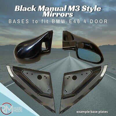 M3 BLACK MANUAL DOOR WING MIRRORS /& BASE PLATES BMW 3 SERIES E46 CONVERTIBLE