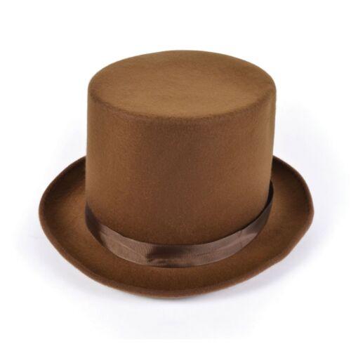 ADULT MEN/'S BROWN DELUXE VICTORIAN WOOL FELT TOP HAT FANCY DRESS SET ACCESSORY
