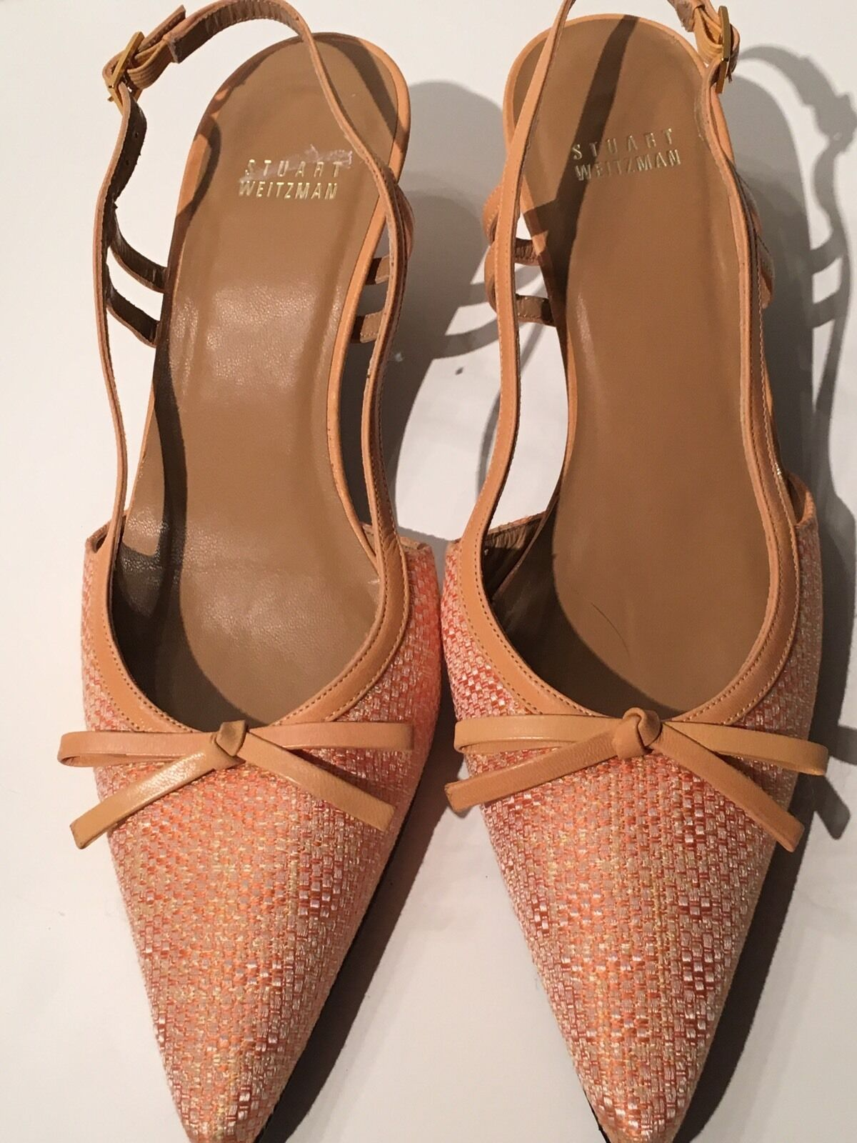 09a187a3c00b7 WEITZMAN Classic , Beige, Leather &Satin , SLINGBACK SHOES, size 8 M ...