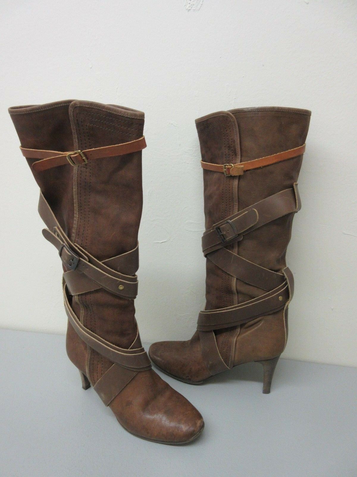 Chloe Made in Italy Brown Pelle 'Paddington' Strappy Wrap Boot Size 38