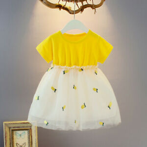 Summer-Toddler-Kids-Baby-Girl-Short-Sleeve-Pineapple-Tutu-Princess-Leisure-Dress