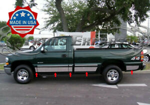 1999 2006 Chevy Silverado Regular Cab Long Bed Rocker Panel Trim Chrome 6 Nf Ebay