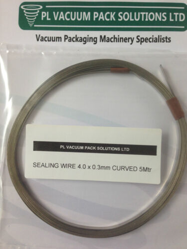 VAC PACKER SEAL WIRE 4.0 x 0.3mm Curved 5Mtr Coil FREE TEFLON COVER TAPE
