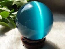 Asian Quartz Blue Cat Eye Crystal Ball Sphere 40mm Stand