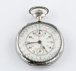 Hochkomplizierte-Tachometer-Chronograph-Taschenuhr-Schweiz-1880-Niello-Silber