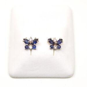 Sapphire-amp-Diamond-Cluster-Butterfly-Stud-Earrings-9ct-Gold-ER282SD