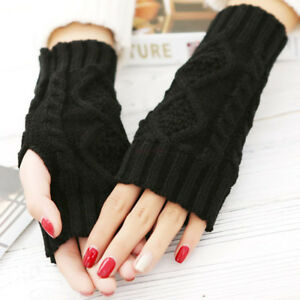 Spring-Warmer-Winter-Long-Unisex-Women-Men-Knitted-Arm-Gloves-Fingerless