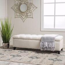 Charleston Contemporary Button-Tufted Fabric Storage Ottoman Bench