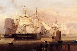 Huge-Oil-painting-Fitz-Hugh-Lane-Boston-Harbor-with-big-sail-boat-on-ocean-36