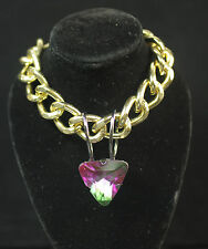 "LADIES CHUNKY GOLD CHAIN  PURPLE / GREEN "" HEART OF THE OCEAN"" NECKLACE (CL9)"