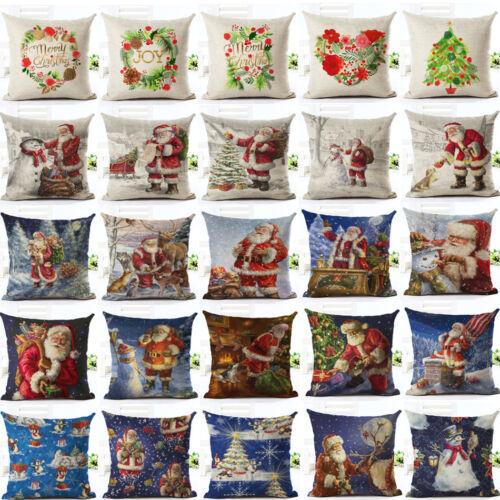 NOËL Xmas Santa Canapé Voiture Throw Cushion Pillow Cover Case Home Decor Cadeaux