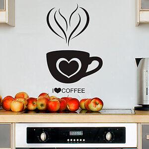 I Love Coffee Kaffee Tasse Küche Sticker Wandtattoo Wand Aufkleber ...