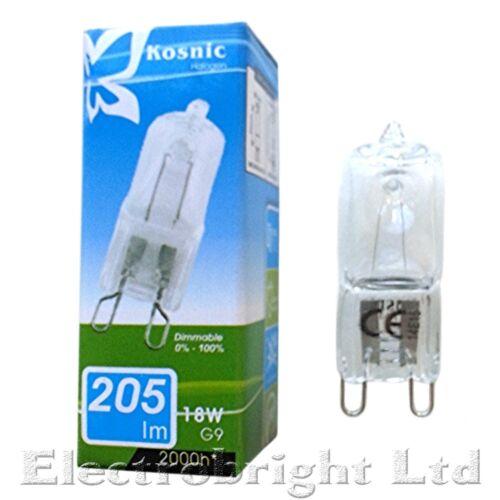 10x KOSNIC G9 18w=25w ECO Halogen DIMMABLE bulbs clear 18 Watt Safety fused