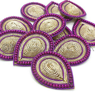 PURPLE GOLD BEADED APPLIQUE,MOTIF, edging,trim,sequins,beads
