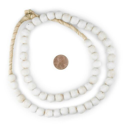White Round Sandcast Beads 11mm Ghana African Glass Large Hole 26 Inch Strand