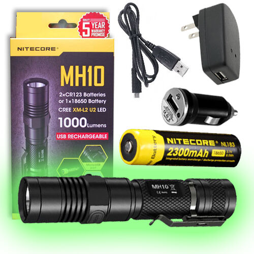 Nitecore MH10 Rechargeable Flashlight w   Battery, USB Cord, + Car & Wall Charger  your satisfaction is our target