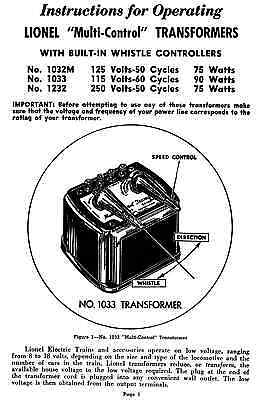 Copy of Lionel 1033 Transformer Instructions AND Service and Repair Manual  | eBayeBay