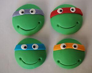EDIBLE TMNT CUPCAKE TOPPERS Teenage Mutant Ninja Turtles BIRTHDAY