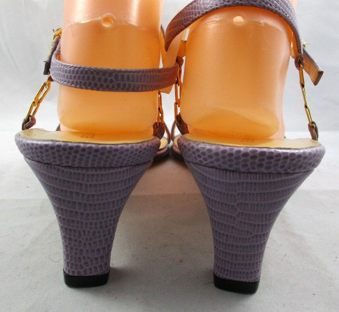 ELLEN TRACY Lilac Lizard Ankle Strap Sandals Gold Hardware Hardware Hardware  Größe 9 B NEW 43281a