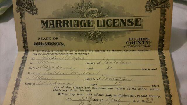 Vintage Old 1933 Marriage License Arthur Payne Esther Miller from ALLEN OKLAHOMA