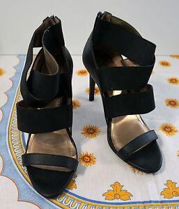fc5f9cebf4 BCBG girls shoes Black Heels Open Toe Size 10 B Zippered in the back ...
